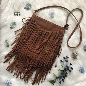 INC Fringe Rust Colored Crossbody Bag